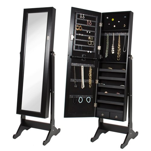 Black Mirrored Jewelry Cabinet Armoire