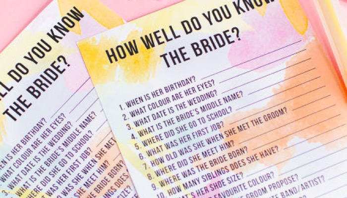 a great game that would be memorable for everyone is a fun quiz about the bride called the how well do you know the bride quiz